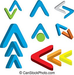 Abstract 3d arrow icon set