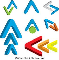 Abstract 3d arrow icon set