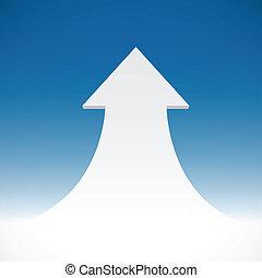 Abstract 3D arrow on blue sky background.