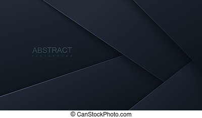 Abstract 3d background with black paper layers.