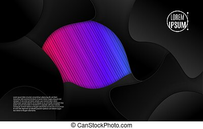 Abstract 3d background with black paper layers. Vector geometric illustration of sliced shapes. Graphic design element. Minimal design. Decoration for business presentation.