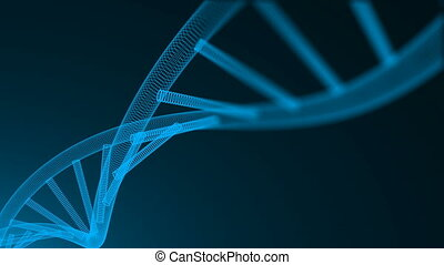 Abstract 3d background with molecule of DNA with many dots,...