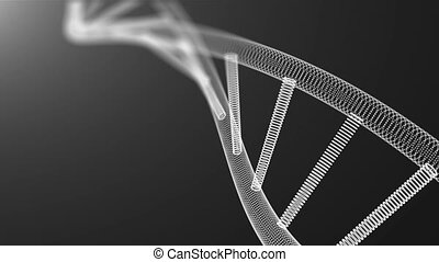 Abstract 3d background with molecule of DNA with many dots, science concept, futuristic computer generated illustration