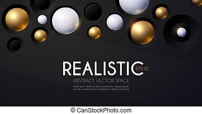Abstract 3D Background with White and Gold Spheres. Science Design. Structure Template.