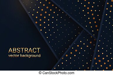 Abstract 3d banner with dark paper layers. Geometric idea of sliced shapes with gold. Graphic design element. Elegant decoration overlap shapes with a place for message.