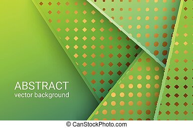 Abstract 3d banner with green paper layers. Geometric idea of sliced shapes with gold. Graphic design element. Elegant decoration overlap shapes with a place for message.