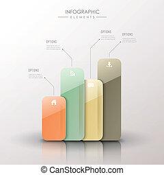 abstract 3d bar chart infographics