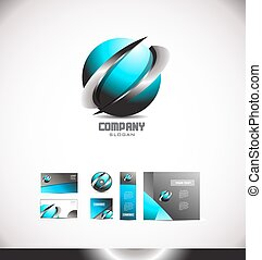 Abstract 3d blue sphere swoosh