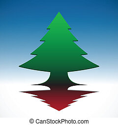 Abstract 3D  Christmas tree on blue sky background. EPS10