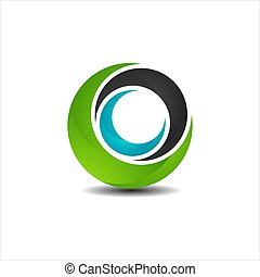 abstract 3D circle logo design graphic element template