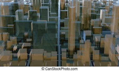 Abstract 3D city downtown architectural background - Flying...