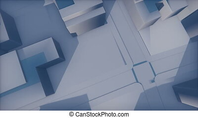 Abstract 3D city fade in the haze - Camera moves from the...