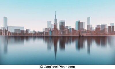 Abstract 3D city skyline silhouettes reflection 4K - Chicago...
