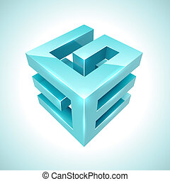Abstract 3D cube cyan icon isolated on white background.