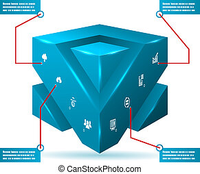 Abstract 3d Cube Isolated Infographic with Isometric Icons Vector Illustration