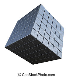 Abstract 3d cube on a white background.