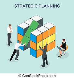 Abstract 3d cubes wall infographic design elements layout template for presentation strategic planning or Startup business plan vector illustration. For infographics and design