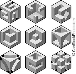 abstract 3d cubic design elements vector illustration