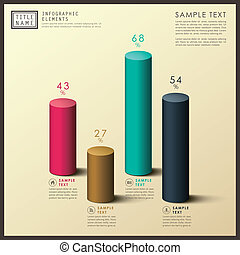 abstract 3d cylinder infographics - modern vector abstract...
