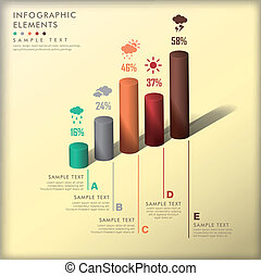 abstract 3d cylinder infographics