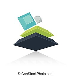 Abstract 3D Design green blue gray color