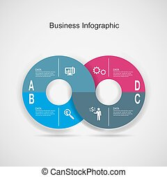 Abstract 3D digital business marketing Infographic.