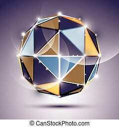 Abstract 3D facet festive sphere with sparkles, bright twinkle mirror ball created from triangles, disco theme.