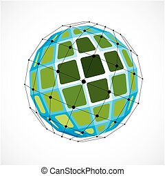 Abstract 3d faceted figure with connected black lines and dots. Vector low poly green design element created with squares. Cybernetic orb shape with grid and lines mesh.