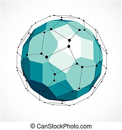 Abstract 3d faceted figure with connected black lines and dots. Vector low poly green design element created with squares and pentagons. Cybernetic orb shape with grid and lines mesh.