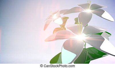Abstract 3D Flower. Background. Loop.