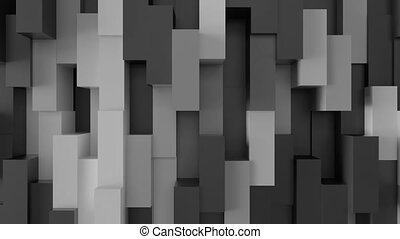 Abstract 3D geometric background with color shifting shapes.
