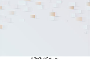 Abstract 3d geometric pattern background with white and gold. Vector illustration