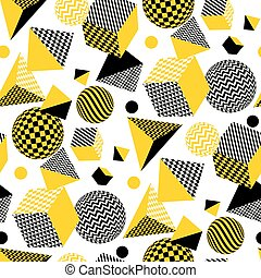 Abstract 3d geometric seamless pattern in yellow and balck color. Volume illusion geometry shapes repeatable motif. Graphic element for surface design, fabric, wrapping paper.