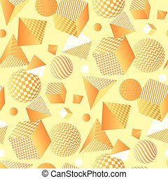 Abstract 3d geometric seamless pattern. Volume illusion geometry shapes repeatable motif. Graphic element for surface design, fabric, wrapping paper.