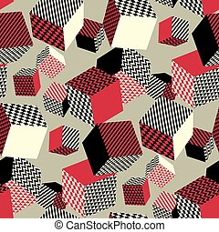 Abstract 3d geometric seamless pattern. Volume illusion geometry shapes repeatable motif in vintage retro colors. Graphic element for surface design, fabric, wrapping paper.