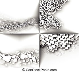 Abstract 3D Geometrical Mosaic Design - Set of Abstract 3D...