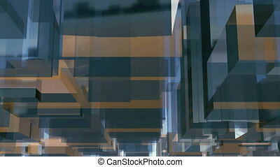 Abstract 3D glass cube block shape background 4K - Abstract...
