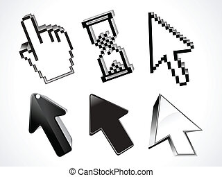 abstract 3d glossy curssor set