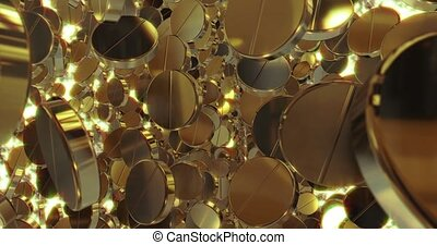 Abstract 3D graphics Background with golden pills. 3D rendering