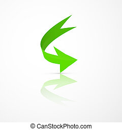 Abstract 3d Green Arrow Icon