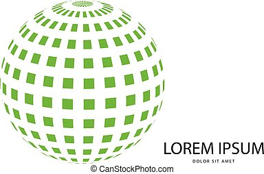 Abstract 3d green globe vector logo isolated on white (illustration)