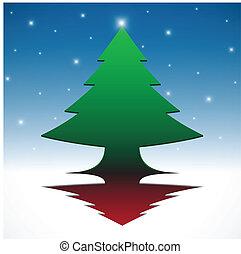 abstract, 3d, hemel, kerstmis, blauwe , boompje, eps10, achtergrond.