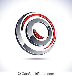 .Abstract modern 3d swirl logo. Vector.