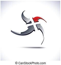 Abstract 3d icon. - Abstract modern 3d arrows logo. Vector.
