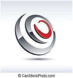 Abstract 3d icon. - Abstract modern 3d spiral logo. Vector.