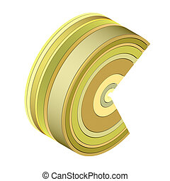 abstract 3d icon in multiple yellow brown color band