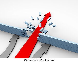 abstract 3d illustration of arrows competition over white background