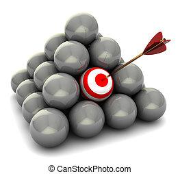 right target - abstract 3d illustration of balls pyramid,...