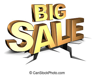 big sale - abstract 3d illustration of big sale sign, on ...