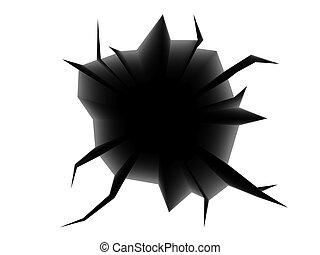 cracked hole - abstract 3d illustration of black cracked...